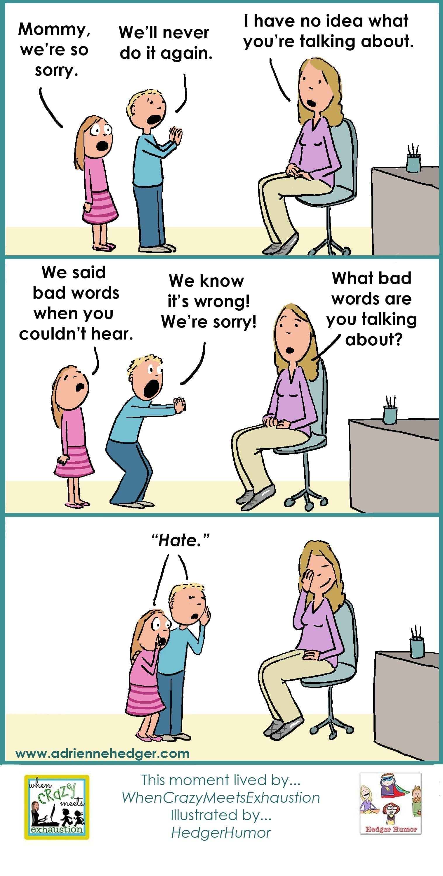 conversations words bad humor hedger funny toddler toddlers