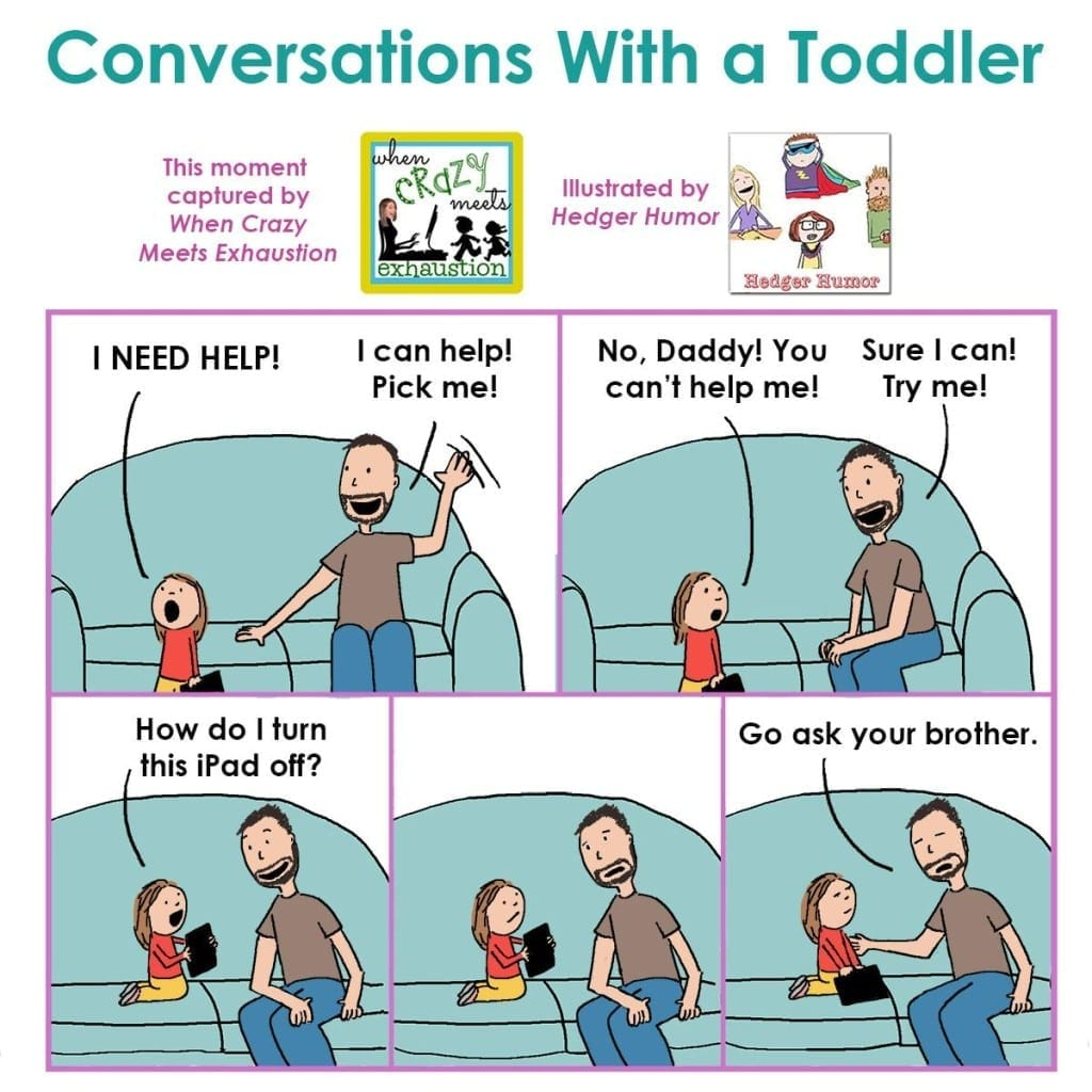 Conversations with a Toddler: Daddy and 3yo are stumped by iPad