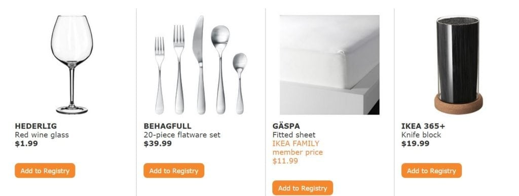 Just a few of IKEA's Top 20 wedding gifts